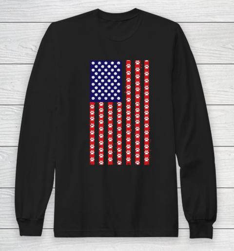 Tennis Dog Lover American Flag Long Sleeve T-Shirt