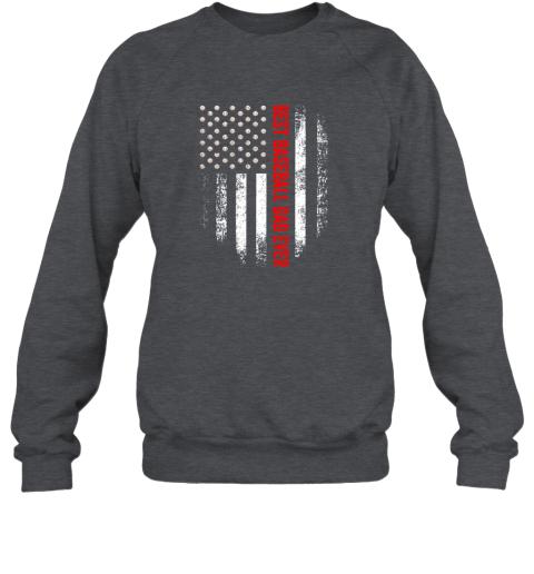 jjff vintage usa best baseball dad ever american flag daddy gift sweatshirt 35 front dark heather