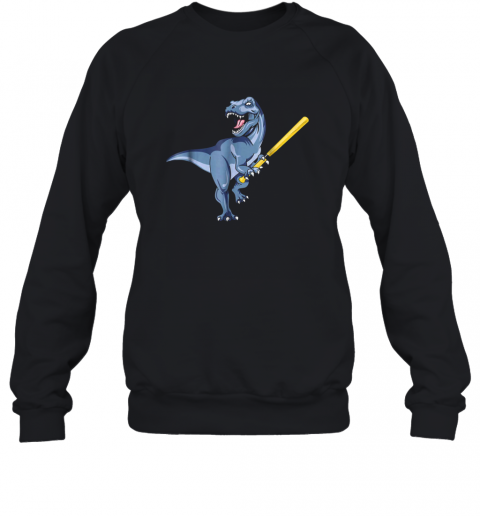 Dinosaur Baseball Shirt October Bat Ball Park Kid TRex Gift Sweatshirt