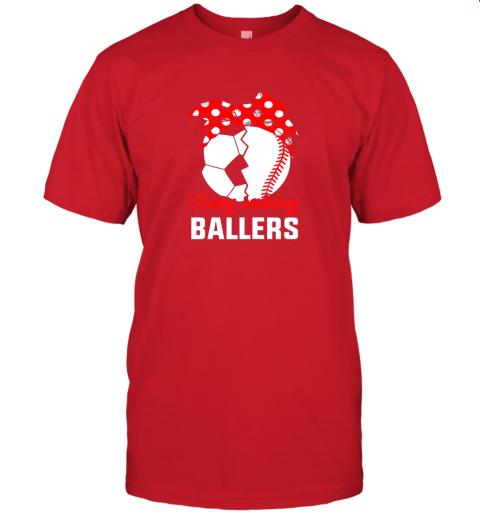 pp75 busy raising a ballerfunny baseball soccer mom jersey t shirt 60 front red