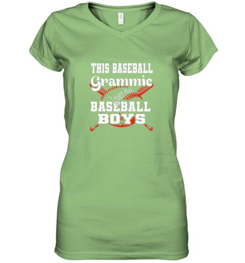 mlmy this baseball grammie loves her baseball boys women v neck t shirt 39 front lime
