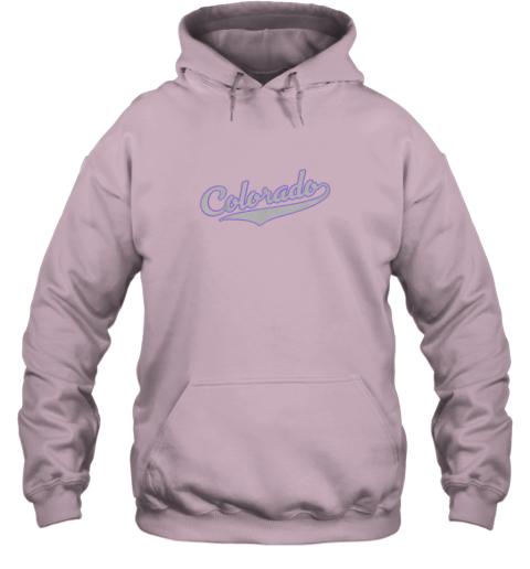 yoar colorado shirtretro baseball script design hoodie 23 front light pink