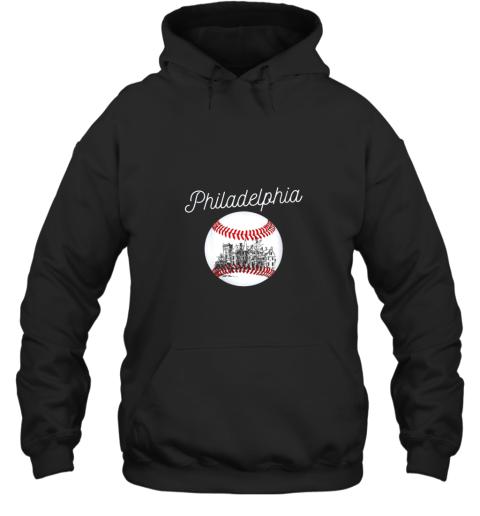Philadelphia Baseball Philly Tshirt Ball and Skyline Design Hoodie
