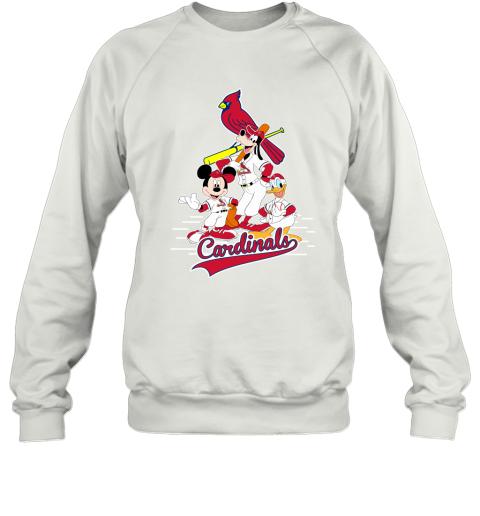 St. Louis Cardinals Mickey Donald And Goofy Baseball Sweatshirt