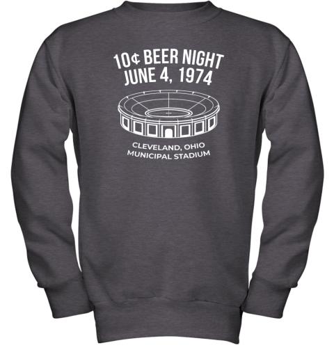 bymm cleveland baseball shirt retro 10 cent beer night youth sweatshirt 47 front dark heather