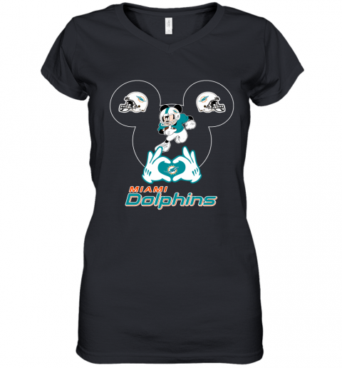 I Love The Dolphins Mickey Mouse Miami Dolphins Women's V-Neck T-Shirt