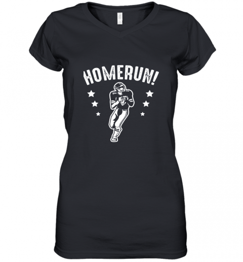 Homerun Football Baseball Mix Wrong Sports Women's V-Neck T-Shirt