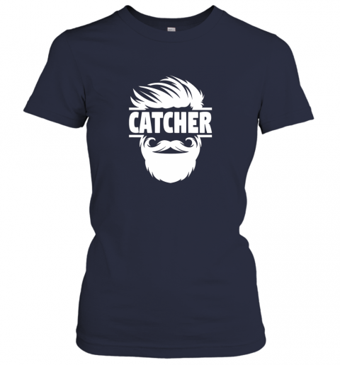 lswh bearded baseball catcher ladies t shirt 20 front navy
