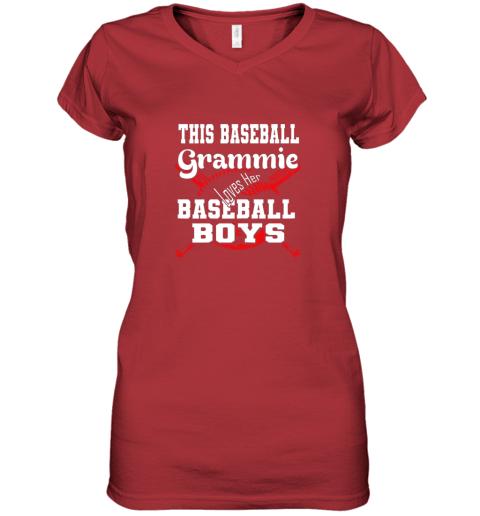 mlmy this baseball grammie loves her baseball boys women v neck t shirt 39 front red