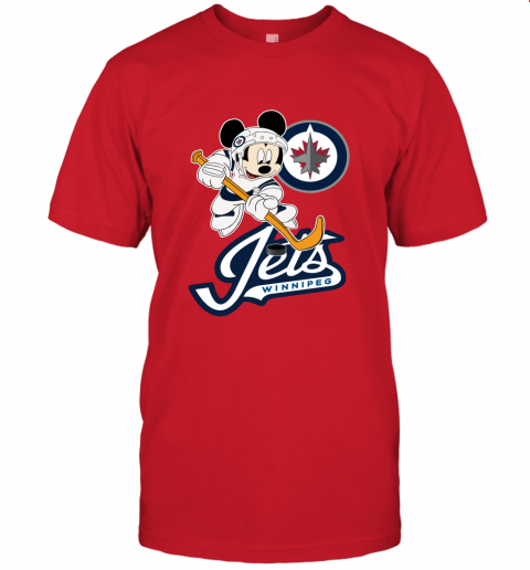 NHL Hockey Mickey Mouse Team Winniepg Jets Unisex Jersey Tee
