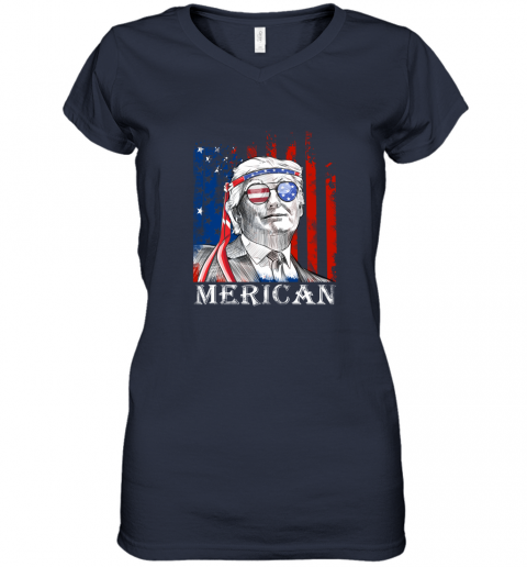 omvw merica donald trump 4th of july american flag shirts women v neck t shirt 39 front navy