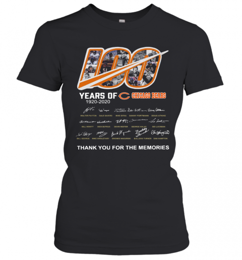 100 Years Of Chicago Bears Thank You For The Memories Signatures Women's T-Shirt