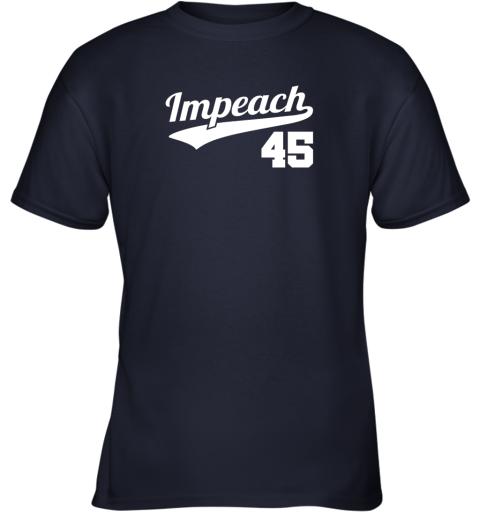 v46i impeach donald trump 45 baseball logo youth t shirt 26 front navy