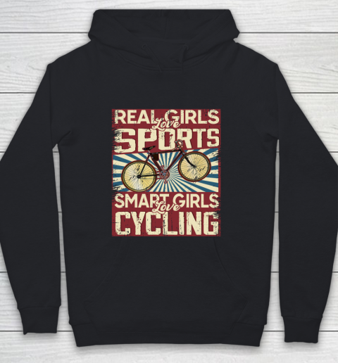 Real girls love sports smart girls love Cycling Youth Hoodie