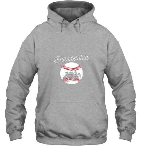 avzu philadelphia baseball philly tshirt ball and skyline design hoodie 23 front sport grey
