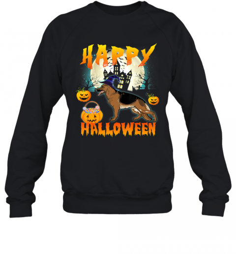 Happy Halloween Cute German Shepherd Dog Witch Pumpkin Ghost Sweatshirt