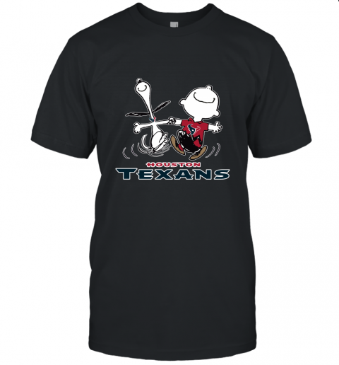 Snoopy And Charlie Brown Happy Houston Texans Fans Unisex Jersey Tee