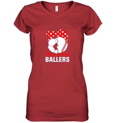 uln5 busy raising a ballerfunny baseball soccer mom women v neck t shirt 39 front red