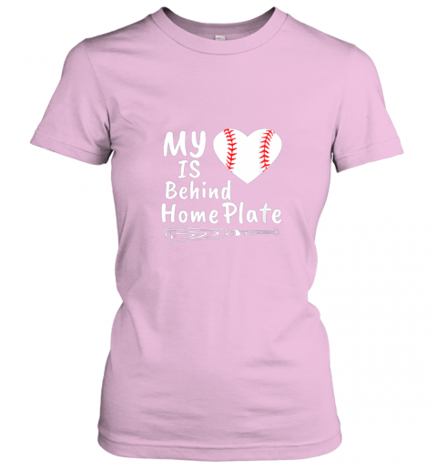 qjrr womens my heart is behind home plate baseball bat mom dad gift ladies t shirt 20 front light pink