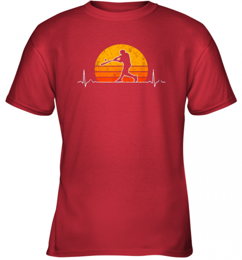 tozo vintage baseball heartbeat retro sunset swinging batter gift youth t shirt 26 front red