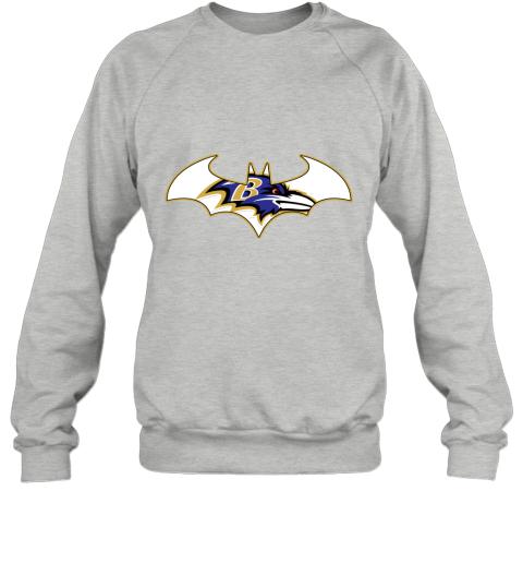 bul4 we are the baltimore ravens batman nfl mashup sweatshirt 35 front sport grey