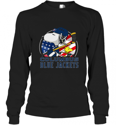 Columbus Blue Jackets  Snoopy And Woodstock NHL Long Sleeve T-Shirt