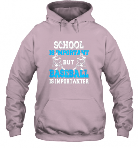 t26j school is important but baseball is importanter boys hoodie 23 front light pink
