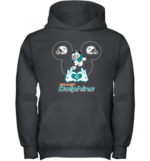 I Love The Dolphins Mickey Mouse Miami Dolphins Youth Hoodie