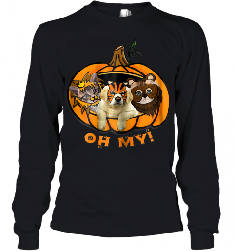 Womens Pumpkin Cat And Dog Halloween Youth Long Sleeve