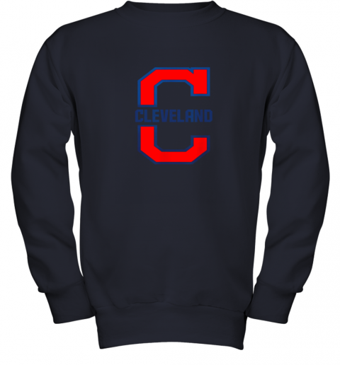 dsjo cleveland hometown indian tribe vintage youth sweatshirt 47 front navy