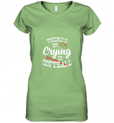 xx0v theres no crying in softball game sports baseball lover women v neck t shirt 39 front lime