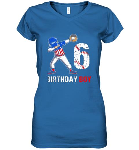 zp8o kids 6 years old 6th birthday baseball dabbing shirt gift party women v neck t shirt 39 front royal