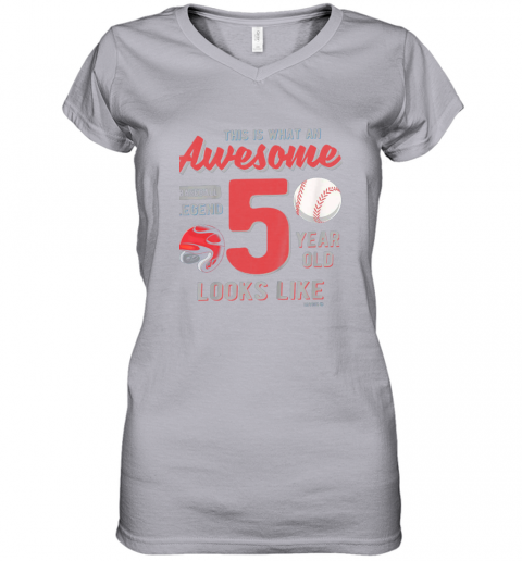 56jp kids 5th birthday gift awesome 5 year old baseball legend women v neck t shirt 39 front sport grey