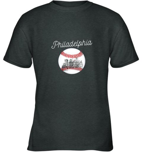 opqv philadelphia baseball philly tshirt ball and skyline design youth t shirt 26 front dark heather