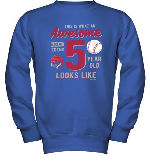 fswj kids 5th birthday gift awesome 5 year old baseball legend youth sweatshirt 47 front royal