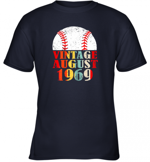 mybx born august 1969 baseball shirt 50th birthday gifts youth t shirt 26 front navy