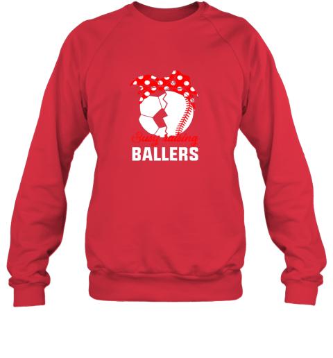 5ksg busy raising a ballerfunny baseball soccer mom sweatshirt 35 front red