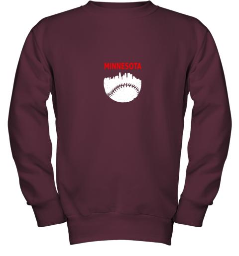 to44 retro minnesota baseball minneapolis cityscape vintage shirt youth sweatshirt 47 front maroon