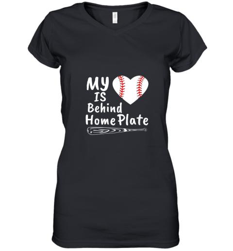 Womens My Heart Is Behind Home Plate Baseball Bat Mom Dad Gift Women's V-Neck T-Shirt