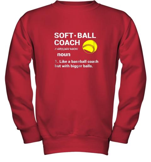28f0 soft ball coach like baseball bigger balls softball youth sweatshirt 47 front red