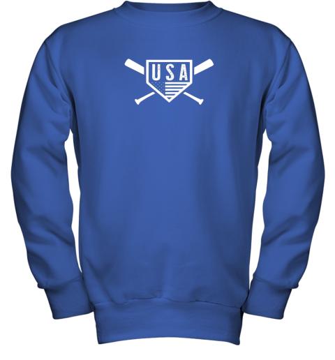 spvc vintage american baseball and softball usa flag youth sweatshirt 47 front royal