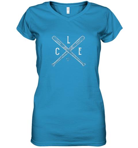 g7om vintage cleveland baseball shirt cleveland ohio women v neck t shirt 39 front sapphire