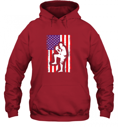 vwag vintage usa american flag baseball player team gift hoodie 23 front red