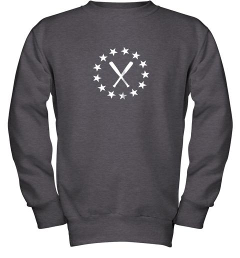 ecxv baseball with bats shirt baseballin player gear gifts youth sweatshirt 47 front dark heather