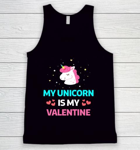 Funny Valentines Day Shirt Unicorn Is My Valentine Tank Top