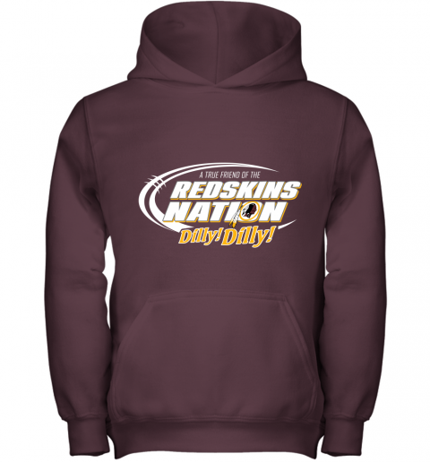r6yz a true friend of the redskins nation youth hoodie 43 front maroon