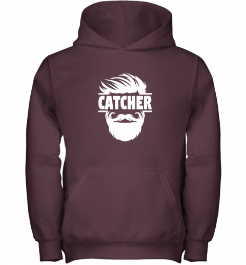 nmt7 bearded baseball catcher youth hoodie 43 front maroon