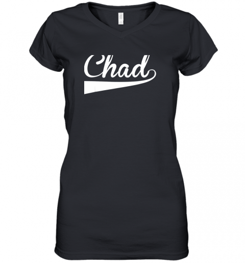 CHAD Country Name Baseball Softball Styled Women's V-Neck T-Shirt
