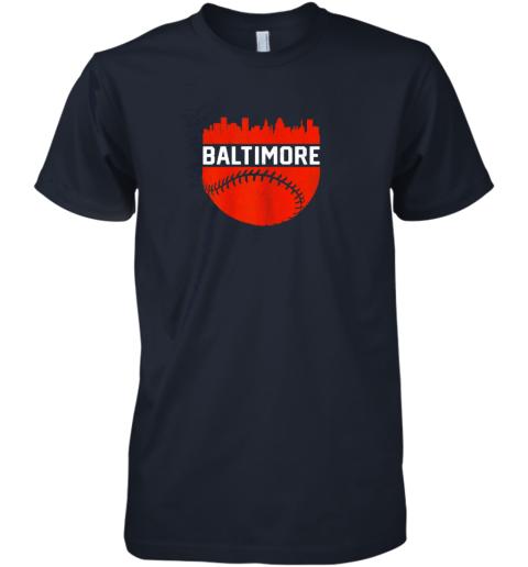 tzyl vintage downtown baltimore maryland skyline baseball premium guys tee 5 front midnight navy