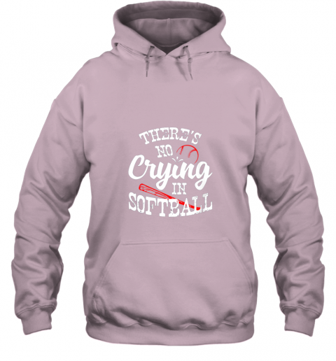gptu theres no crying in softball game sports baseball lover hoodie 23 front light pink
